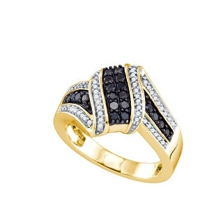 10kt Yellow Gold Womens Round Black Colored Diamond Cluster Fashion Ring 1/2 Cttw - White