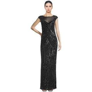 Parker Black Jennifer Embellished Illusion Cap Sleeve Evening Gown Dress Black