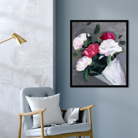 Oliver Gal 'Peony Peony' Floral and Botanical Wall Art Framed Print Florals - Red, White