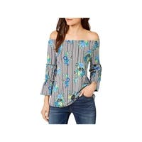 NY Collection Womens Petites Pullover Top Printed Off-The-Shoulder - PXL