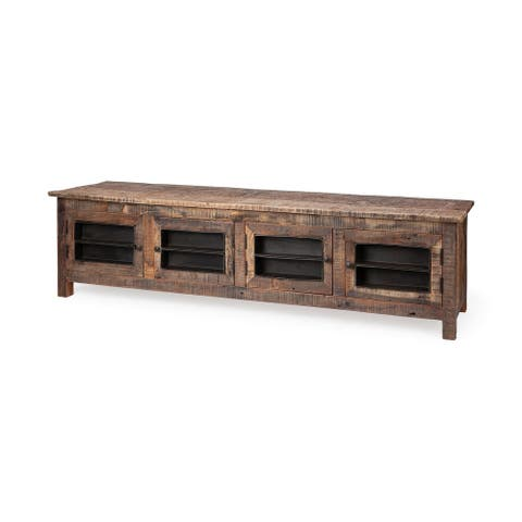 """Mercana Wilton II Medium Brown Reclaimed Wood TV Stand Media Console with Doors, TV up to 87"""" - 76.0L x 19.0W x 20.3H"""