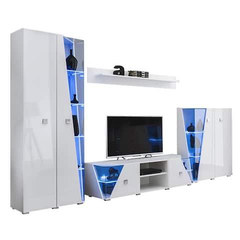 Edge Set TV-BK-CUR-SH Modern Wall Unit Entertainment Center