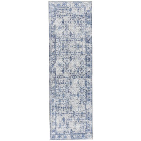 "ReaLife Machine Washable Rug - Vintage Distressed Trellis - Grey-Blue - 2'6"" x 8' - 2'6"" x 8'"