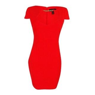 Jessica Simpson Women's Embellished Cutout Sheath Dress - Poppy Red