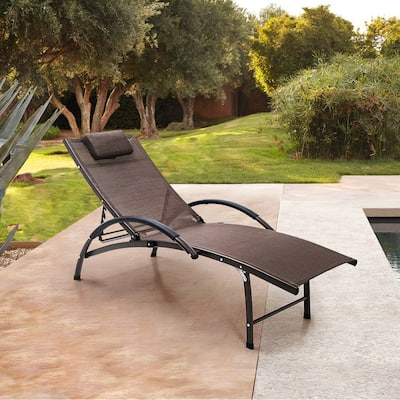 Crestlive Products Outdoor Aluminum Adjustable Reclining Chaise Lounge - 65.35 L x 26.97 W x 32.48 H inches