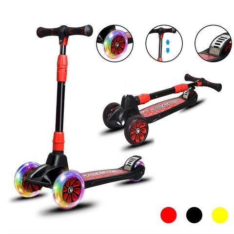 Costway Folding Aluminum 3 LED Light Up Wheel Kids Kick Scooter Adjustable Height Red Yellow Black