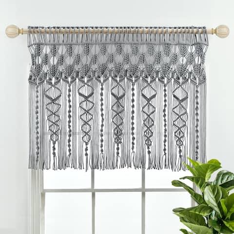 "Lush Decor Boho Macrame Textured Cotton Valance/Kitchen Curtain/Wall Decor - 30"" x 40"""