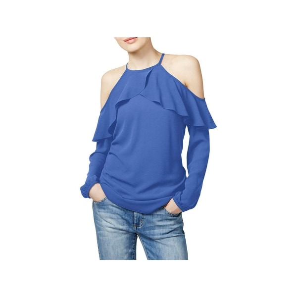 2debf790529d6 Shop MICHAEL Michael Kors Womens Pullover Top Ruffled Off-The ...