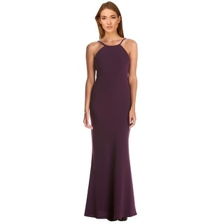 Calvin Klein Crepe Open Back Halter Gown Dress