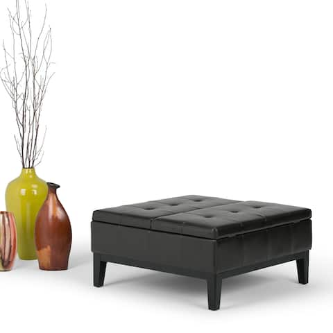 Wyndenhall Lancaster 36-in. Faux Leather Square Table Ottoman