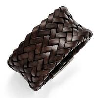 Chisel Stainless Steel Brushed Brown Italian Woven Leather Bracelet
