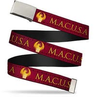 """Blank Chrome 1.0"""" Buckle Macusa Seal Reds Golds White Webbing Web Belt 1.0"""" Wide - S"""