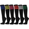 Triple Sparkling Glitter Striped Women Ladies Black Knee High Socks(6 different stripes color) - Thumbnail 0