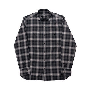 New Tom Ford Mens Pure Cotton Grey Plaid Flannel Military Shirt