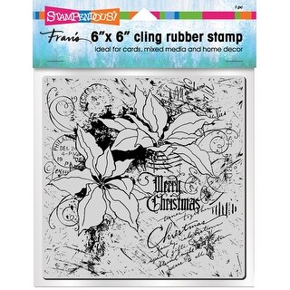 Stampendous Cling Stamps-Poinsettia Collage