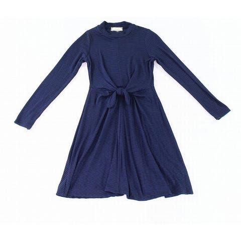 Soprano Navy Blue Girl's Size Medium M Striped Tie-Front Shift Dress