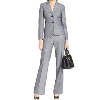 Le Suit NEW Blue Women's Size 18 Notched Collar Seamed Pant Suit Set