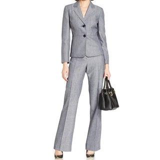 Le Suit NEW Navy Blue Women's 16 Textured Two-Button Pant Suit Set
