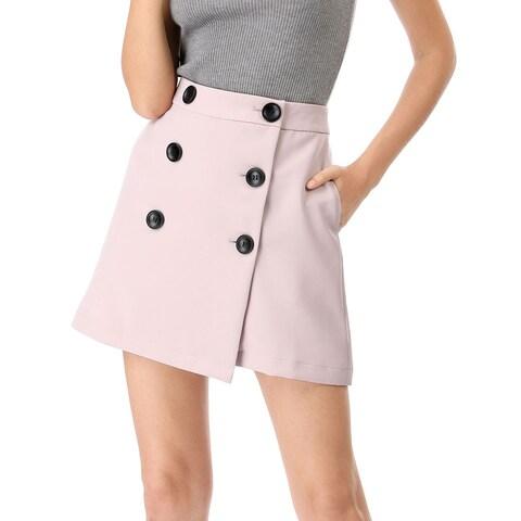 Women's High Waist A-line Above Knee Button Up Skirt - Pink