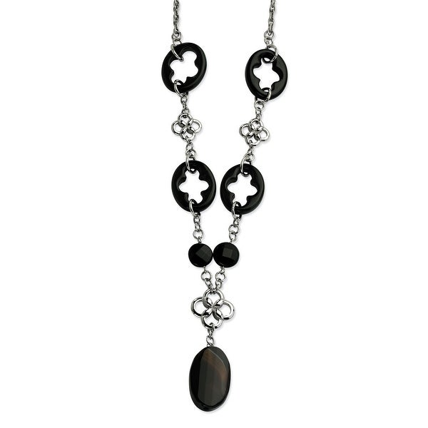 Chisel Stainless Steel Black Agate & Flowers 22 with 2 Inch Extension Necklace (22 mm) - 22 in