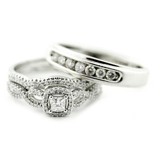 Princess Cut Diamond Bride and Grooms Wedding Ring Trio Set 10K White Gold By MidwestJewellery - White I-J