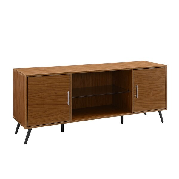 """Delacora WE-BD60NOR2D Elise 60"""" Wide Laminate Mid-Century Modern TV Stand with Tempered Glass Shelf and Cabinet Storage"""