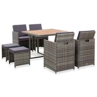 vidaXL 9 Piece Outdoor Dining Set Poly Rattan and Acacia Wood Anthracite