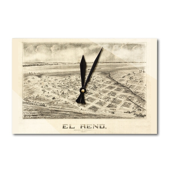 Shop El Reno Oklahoma Panoramic Map Acrylic Wall Clock