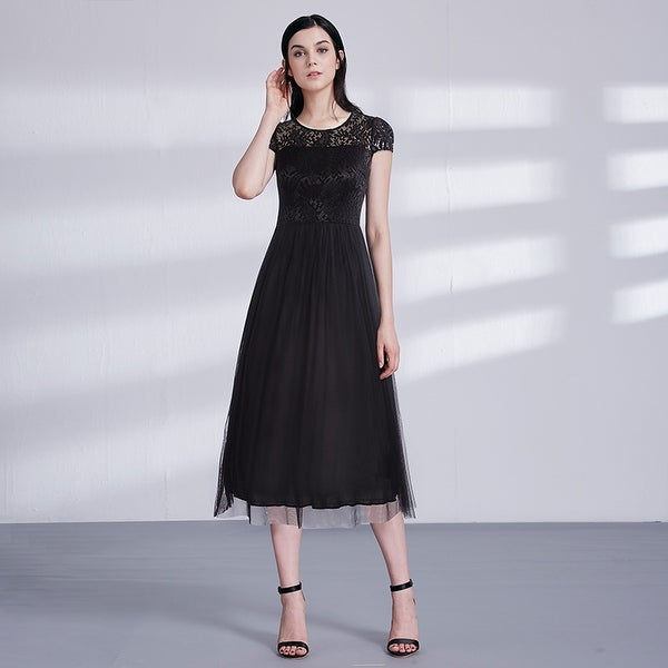Ever-Pretty Women's Lace Tulle Evening Cocktail Party Casual Midi Dress 03068
