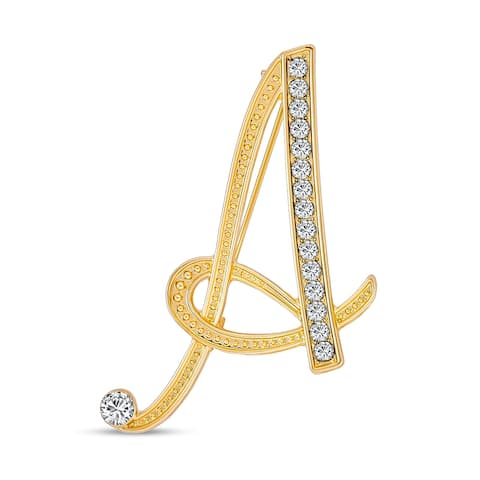 Large Letter Cursive Script Initial Pin Brooch Pave Crystal Silver