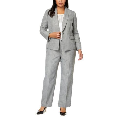 Le Suit Women's Suit Blazer Plus Pant Set Pinstripe