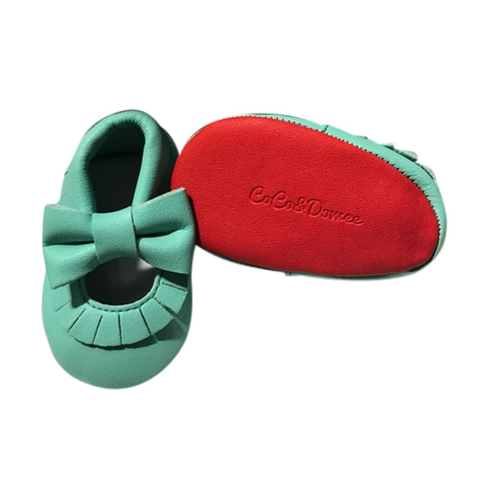Baby Girls Aqua Red Tassel Bow Soft Sole Faux Leather Crib Shoes 3-18M