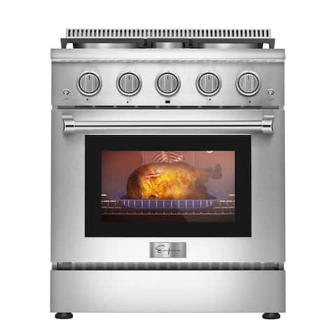 Empava 30 in. 4.2 cu. ft. Pro-Style Slide-In Single Oven Gas Range with 4 Sealed Burners - Continuous Grates in Stainless Steel