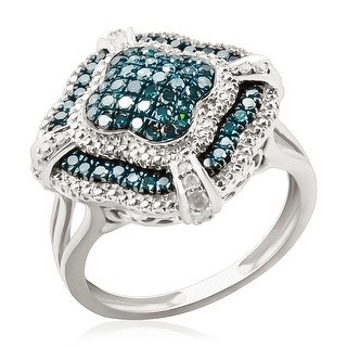 Designer Ring, 0.66Ct Round Brilliant Cut Blue Color Diamond With Diamond - White G-H