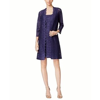 Alex Evenings Petite Lace Sheath Dress and Jacket, Antique Nickel, 16P
