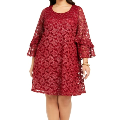 Signature by Robbie Bee Womens Bell Sleeve Red Sz 1X Petite Shift Dress
