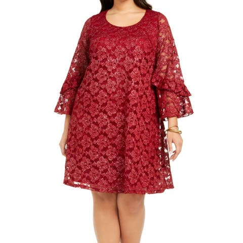 Signature by Robbie Bee Womens Shift Dress Red Size 2X Plus Glitter Lace