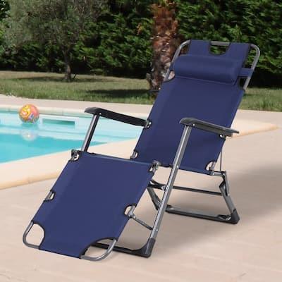 Outsunny Outdoor Folding Reclining Lounge Chairs Beach Patio Oxford Fabric 120-deg /180-deg w/ Head Pillow