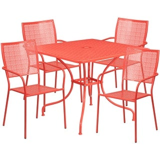 Westbury 5pcs Square 35.5'' Coral Steel Table w/4 Square Back Chairs