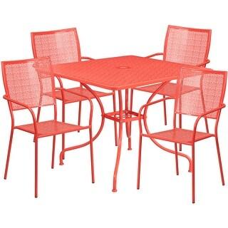 Westbury 5pcs Square 35.5u0027u0027 Coral Steel Table W/4 Square Back Chairs