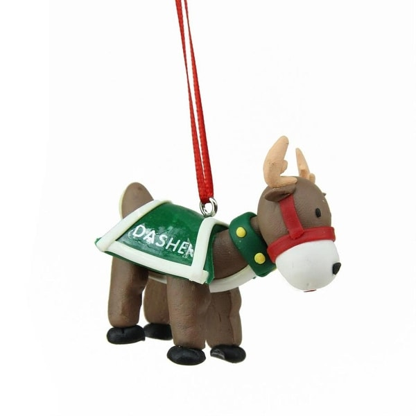 "2.25"" Green Santa's Reindeer ""Dasher"" Hanging Christmas Ornament"