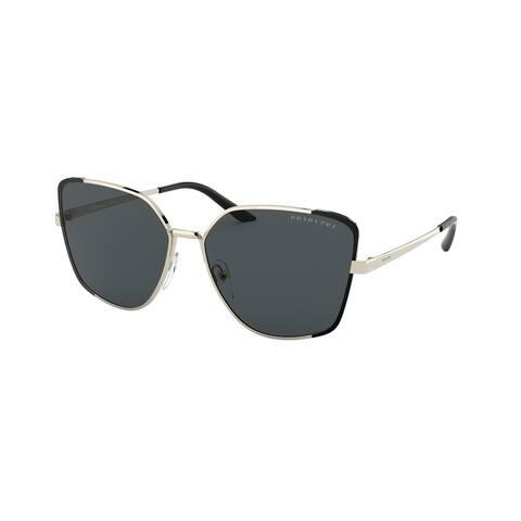 Prada PR 60XS QE35Z1 59 Pale Gold/matte Black Woman Irregular Sunglasses