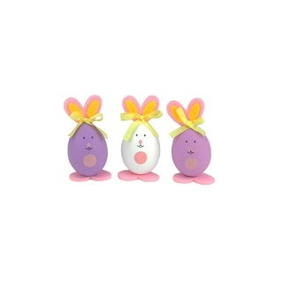 """Set of 3 Pink, Purple and White Striped Easter Egg Bunny Spring Figure Decorations 3.5"""""""