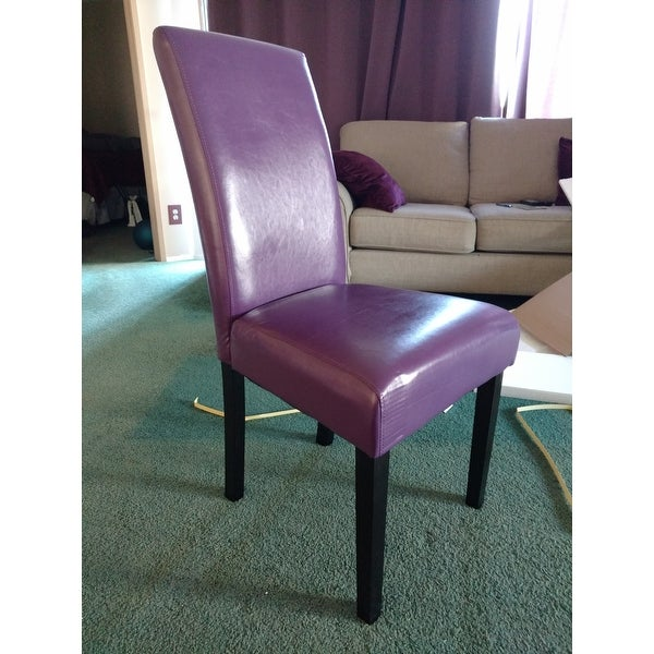 Villa Faux Leather Boysenberry Dining Chairs Set Of 2 Free Shipping Today 14129764