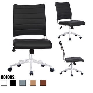 2xhome Ergonomic Executive Mid back PU Leather Office Chair Armless Side No Arms Tilt With Wheels and Padded Cushioned Seat