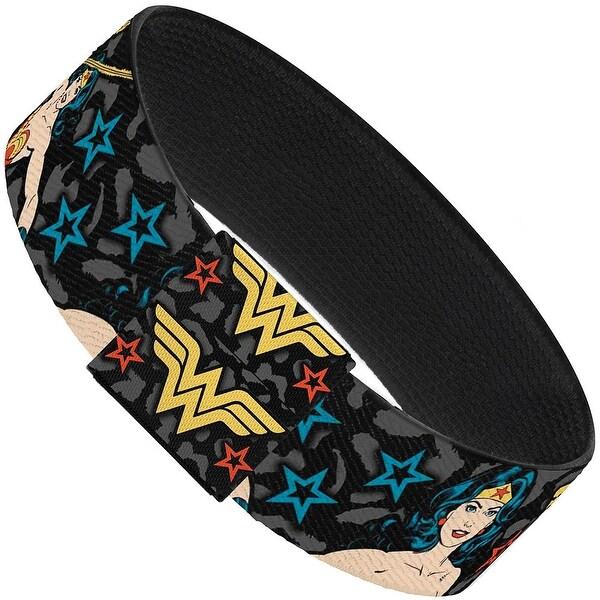 Wonder Woman Poses Logo Stars Leopard Black Gray Elastic Bracelet