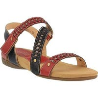 L'Artiste by Spring Step Women's Joaquima Flat Sandal Red Multi Leather