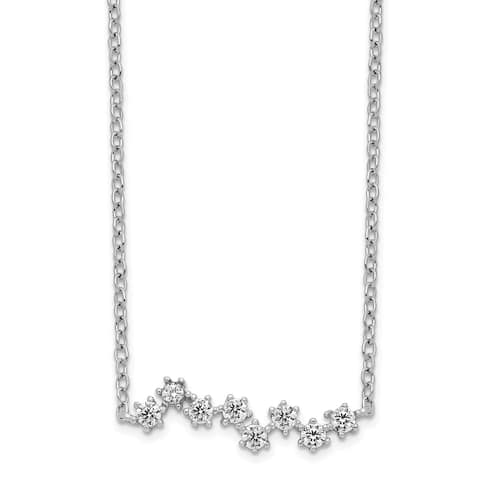 Sterling Silver Rhodium-plated Polished Cubic Zirconia Stars Pendant with 2-inch Extension Necklace by Versil