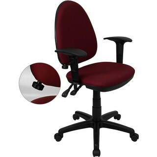 Offex Mid-Back Burgundy Fabric Multi-Functional Task Chair with Arms [OF-WL-A654MG-BY-A-GG]