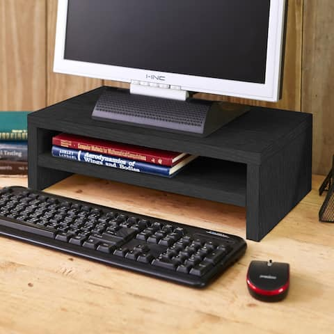 Way Basics Eco Friendly 2-Shelf Computer Monitor Stand Riser, Black - Tool-Free Assembly - Non Toxic - LIFETIME GUARANTEE